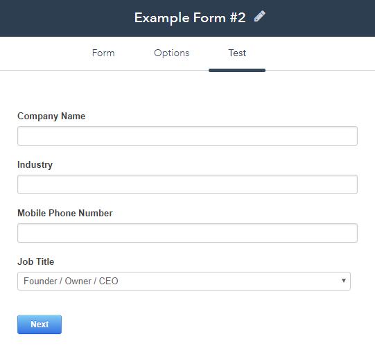HubSpot form example 2