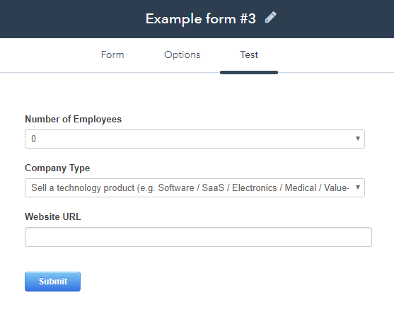 HubSpot form example 3