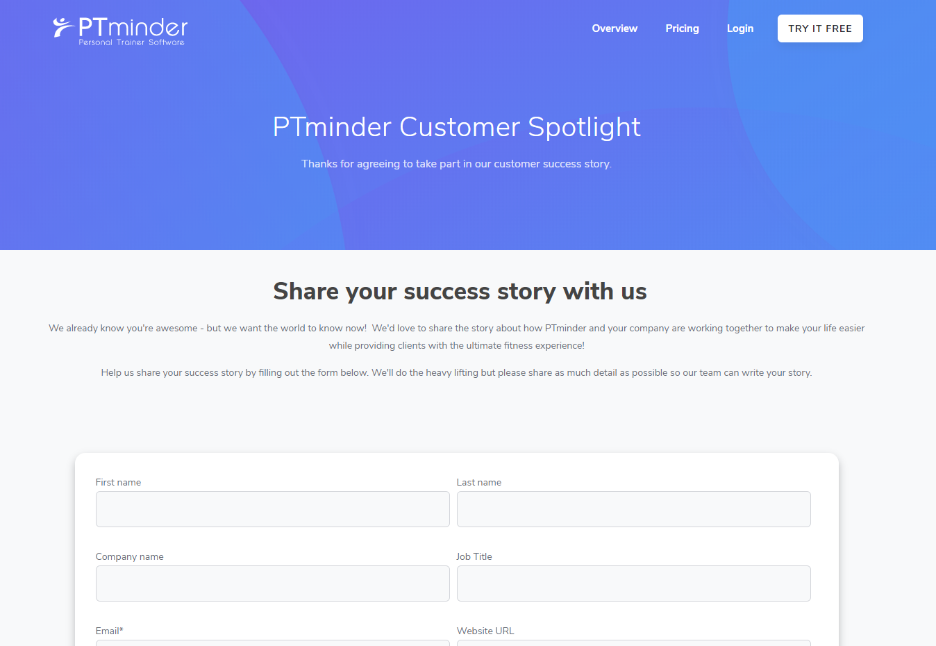 Landing Page - PTminder Case Study